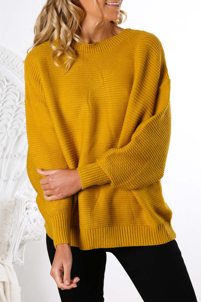 Cant Stop Now Knit Sweater Mustard Jean Jail - Jean Jail