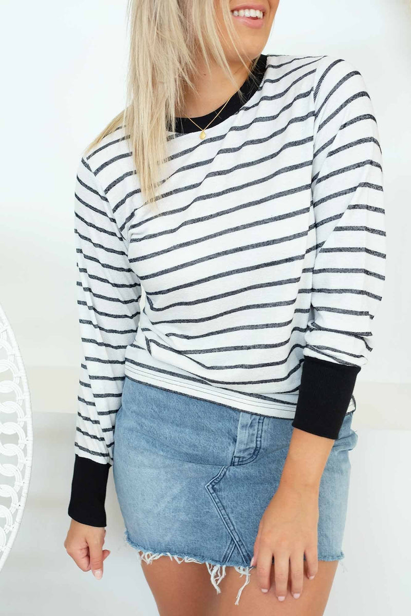 Captain Stripe Long Sleeve Top White Black The Fifth Label - Jean Jail