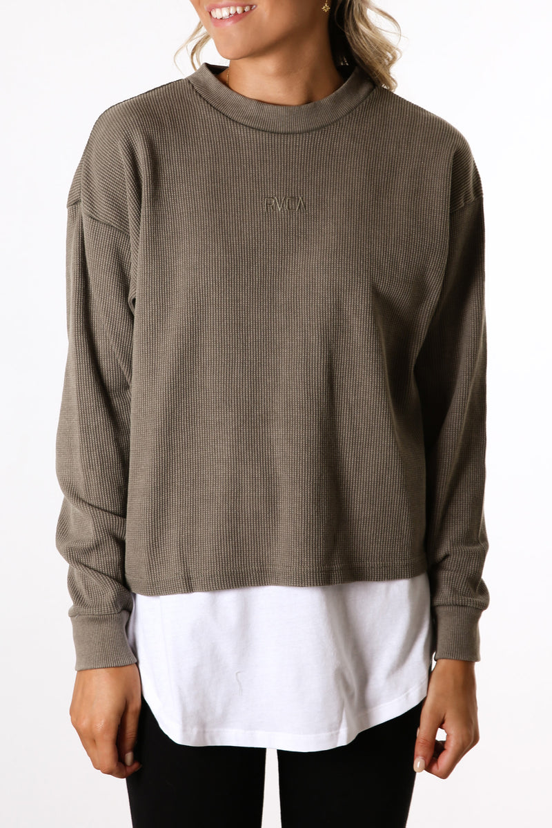 Carded Waffle Long Sleeve Tee Dusty Olive