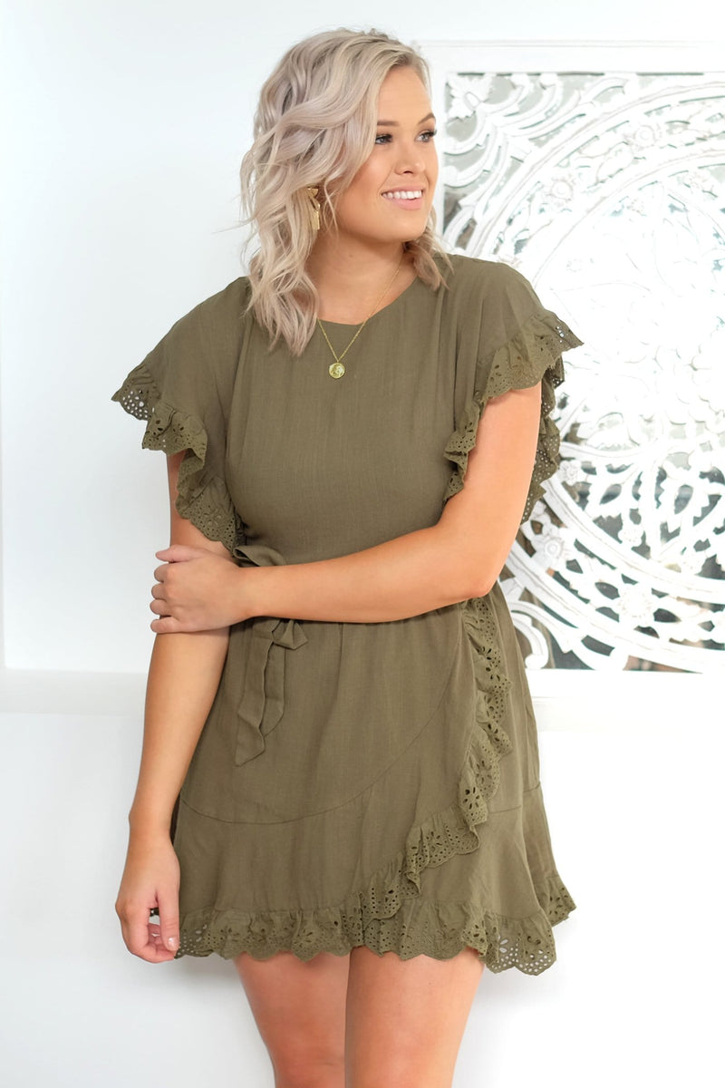 Care For Me Dress Khaki Jean Jail - Jean Jail