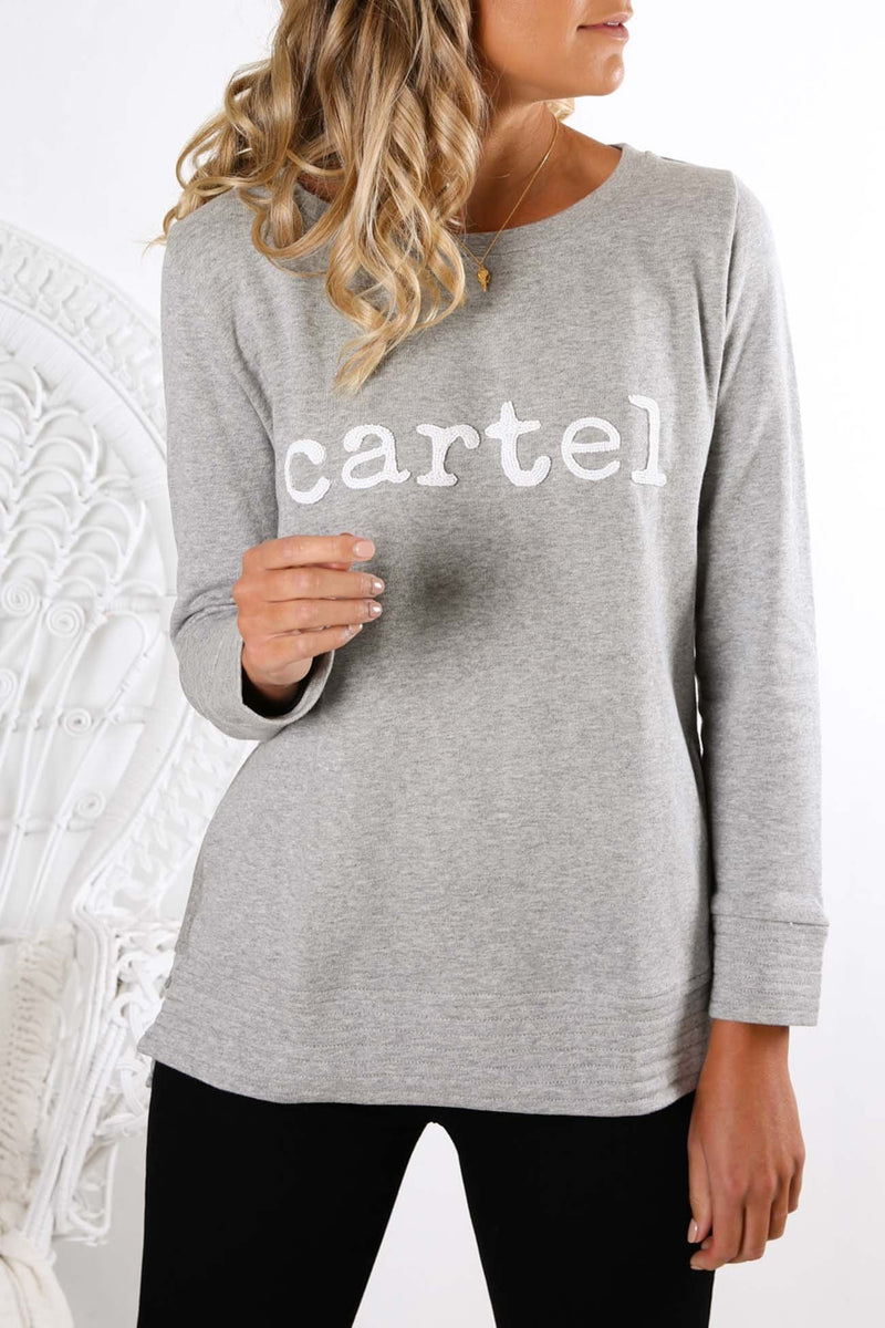 Cartel Beaded Sweater Grey Marle Cartel & Willow - Jean Jail