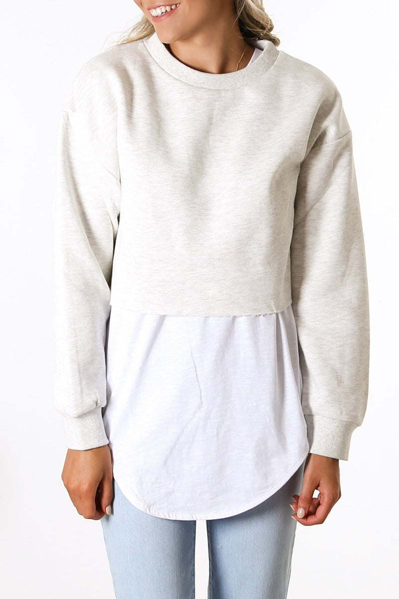 Carter Classic Crop Sweat Snow Marle