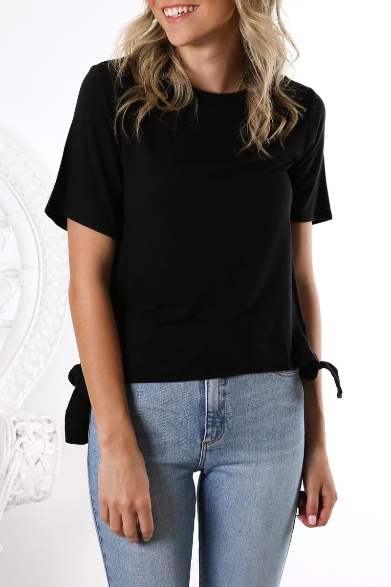 Coco Side Tie Short Sleeve Tee Black