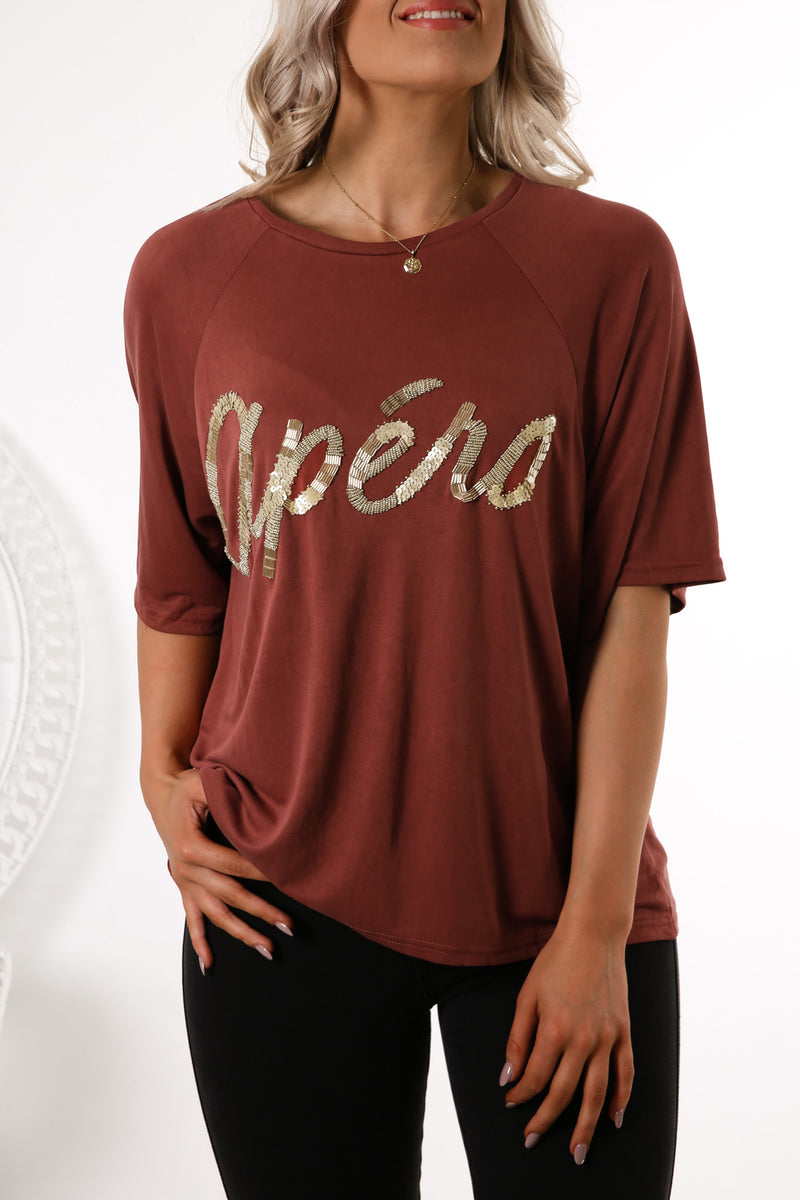 Colada Beaded Oversized Tee Burnt Rose Gold Bead
