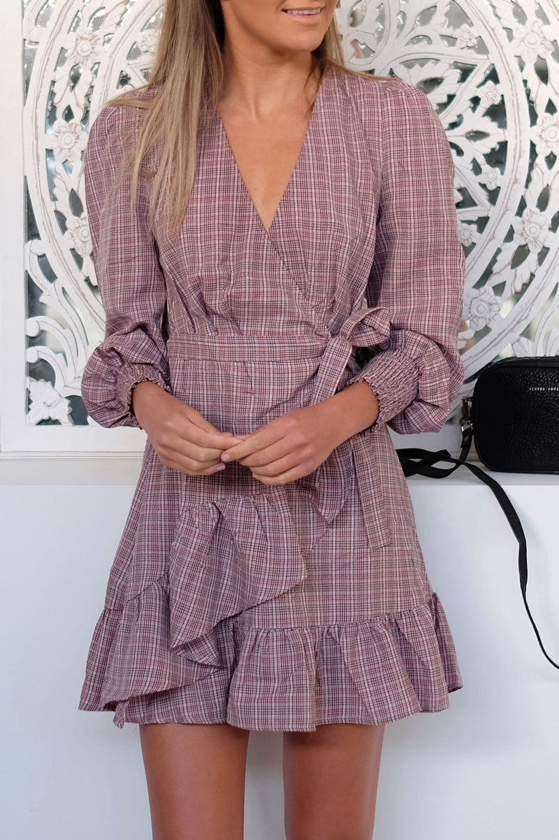 Collegiate Check Wrap Dress Blush Black The Fifth Label - Jean Jail