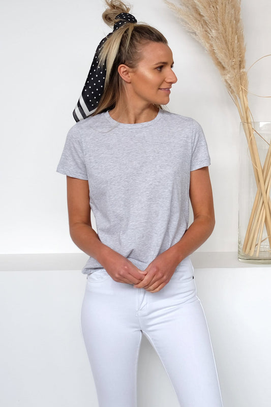 Collins Button Detail Tee Grey Marle