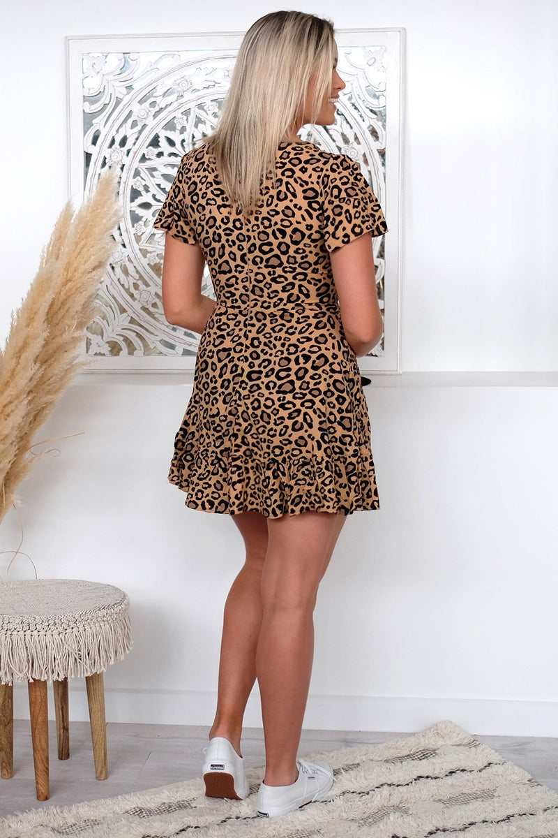 Come Right Back Dress Tan Leopard