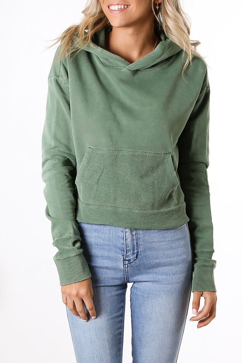 Contra Cropped Hoody Willow Green