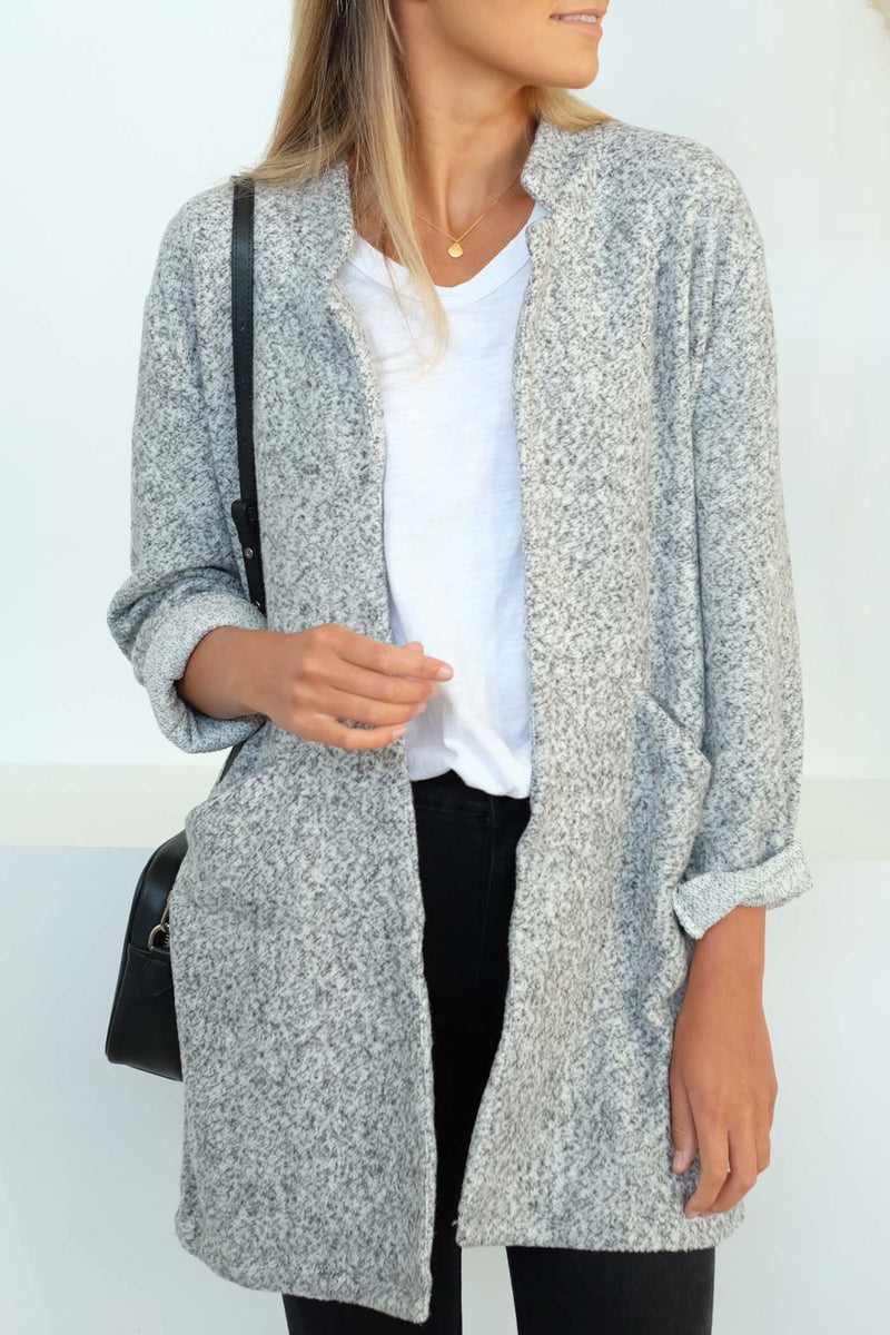 Cosy Cocoon Coat Grey Marle Sass - Jean Jail