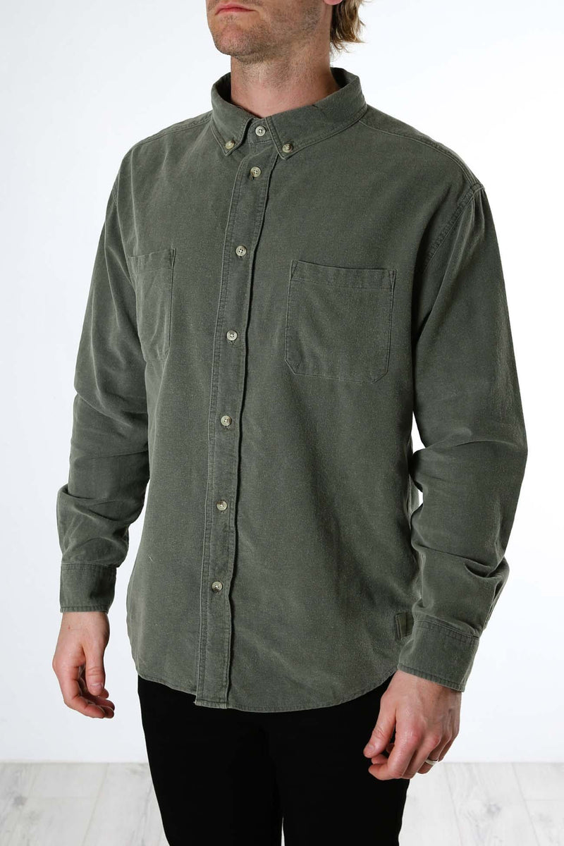 Courier Oversized Long Sleeve Shirt Army Green Thrills - Jean Jail