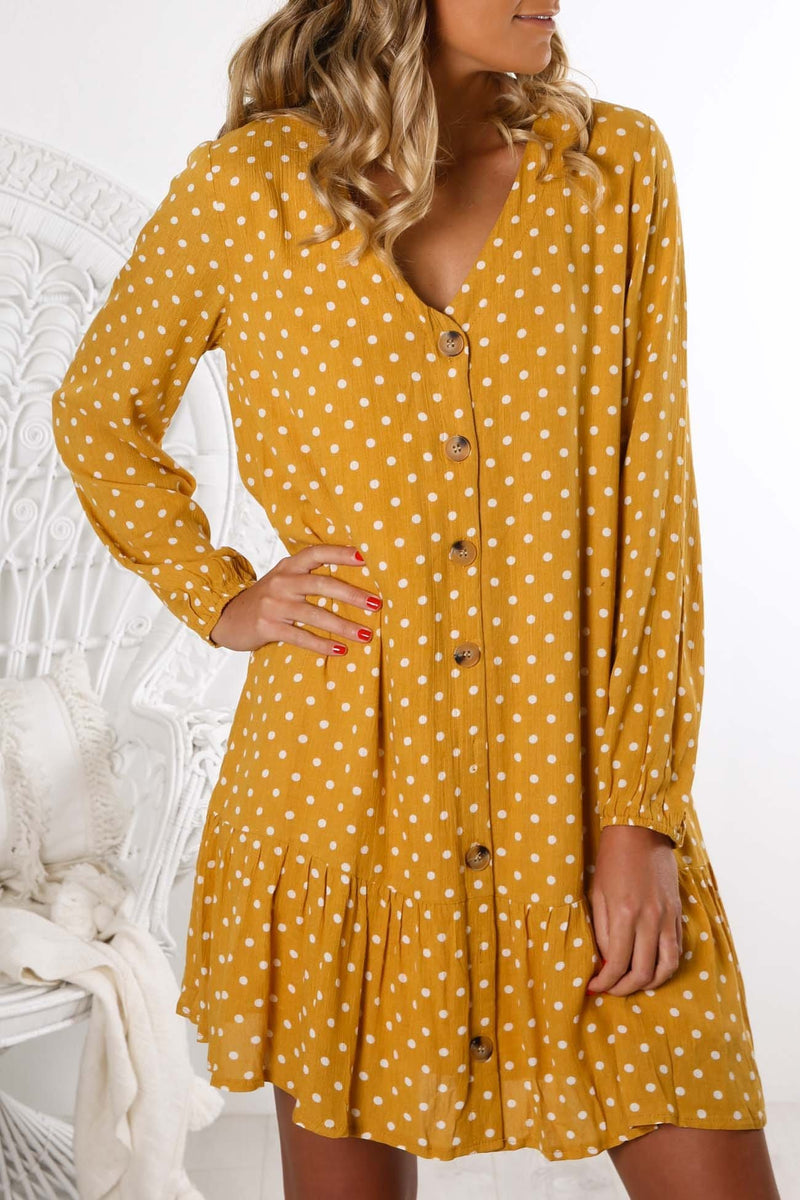 Craving Excitement Dress Yellow Jean Jail - Jean Jail