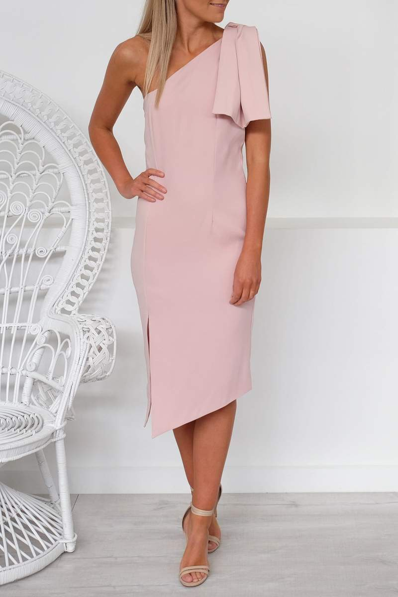 Sample - Crepe Bow Midi Dress Blush
