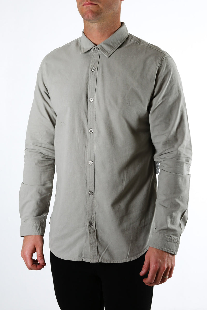 Crushed Long Sleeve Shirt Cement