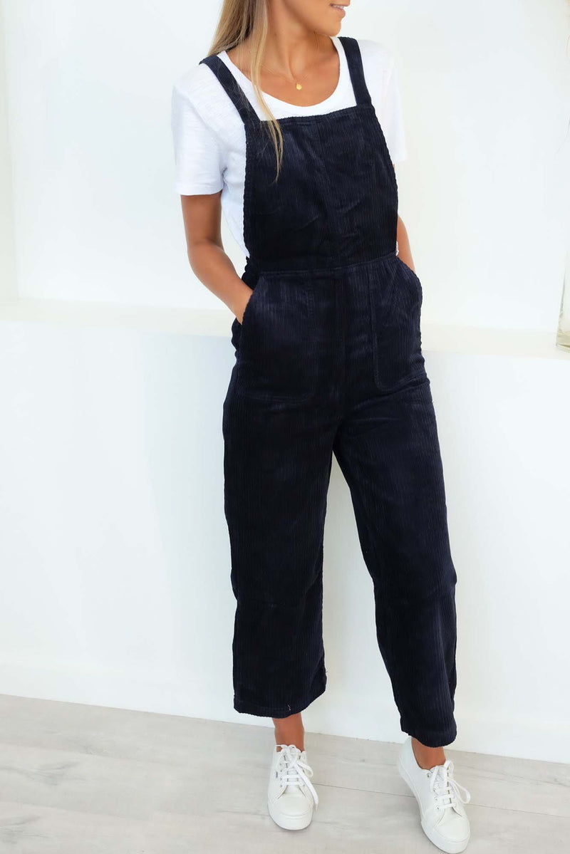 Crushed Plush Overall Navy Marine RVCA - Jean Jail