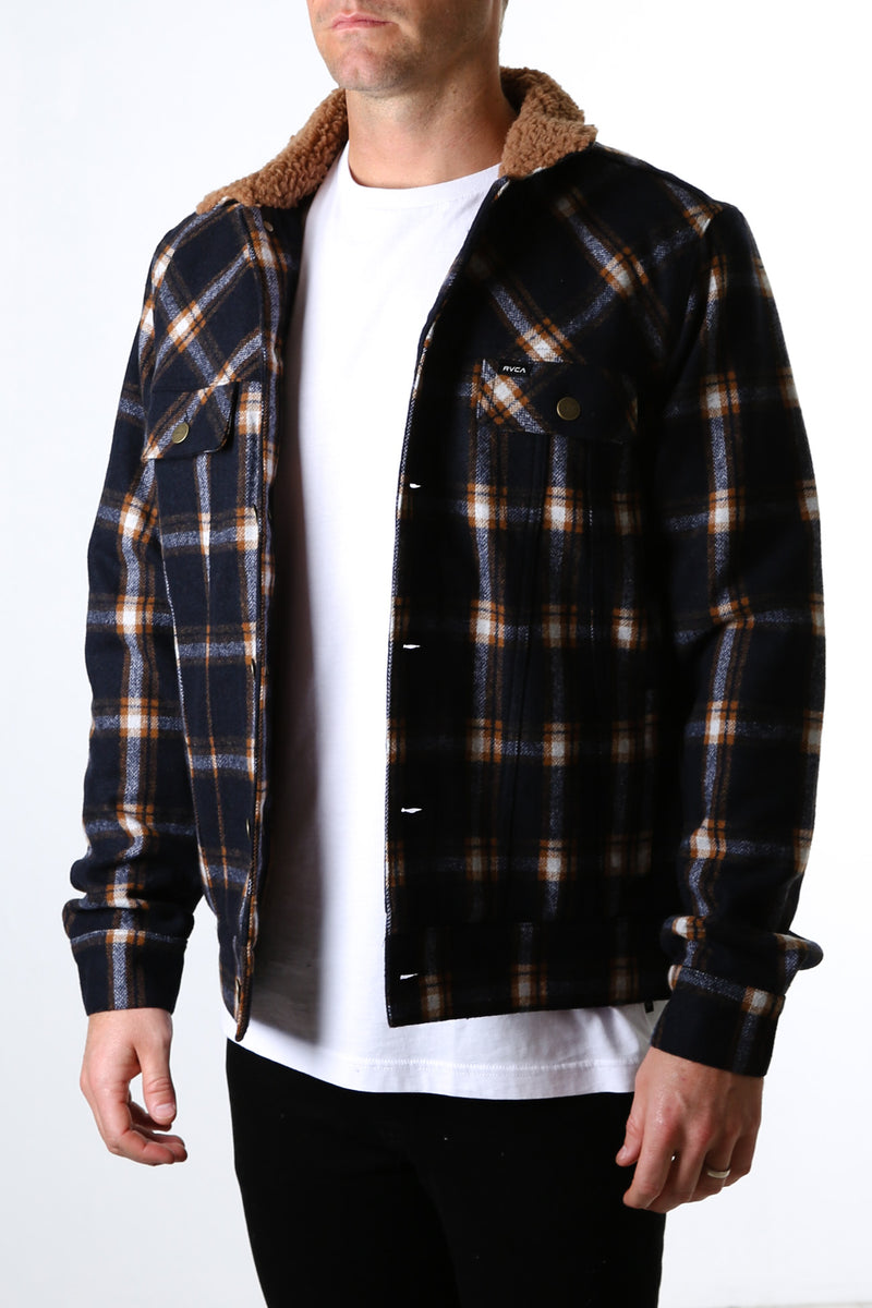 Daggers Plaid Sherpa Jacket New Navy