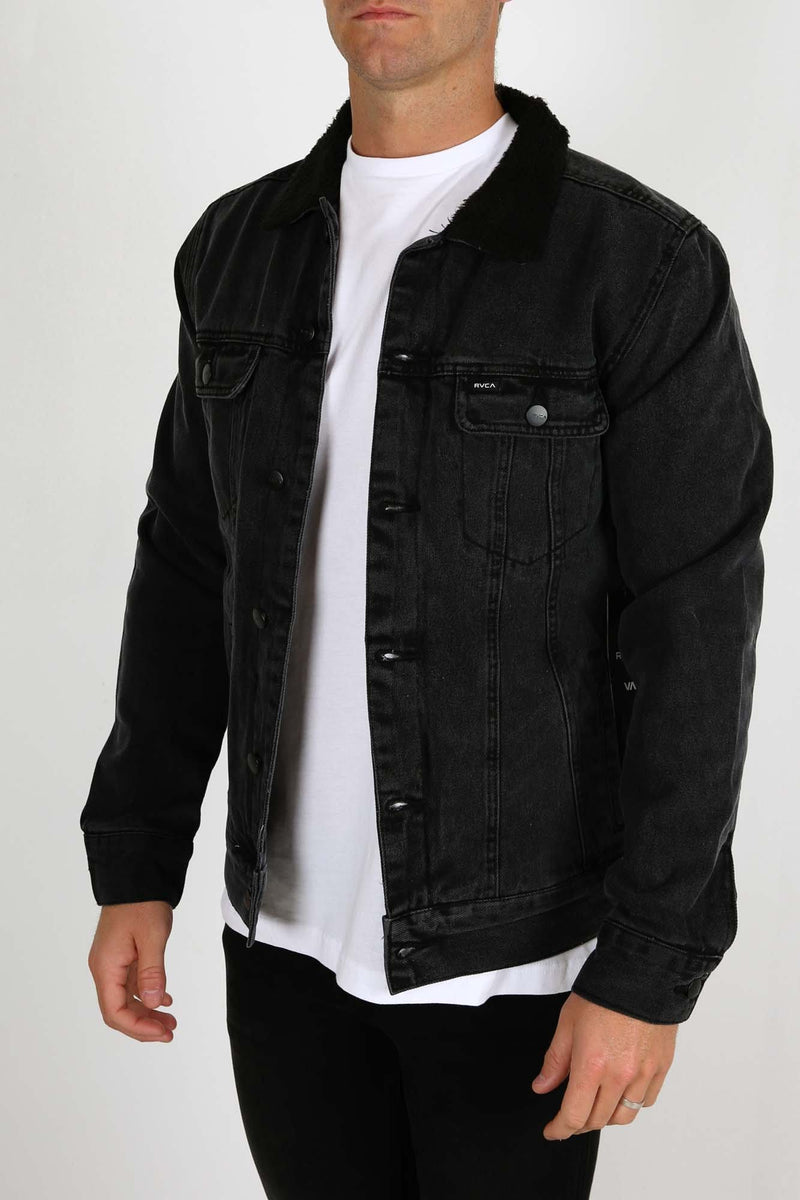 Daggers Denim Sherpa Jacket Vintage Black RVCA - Jean Jail