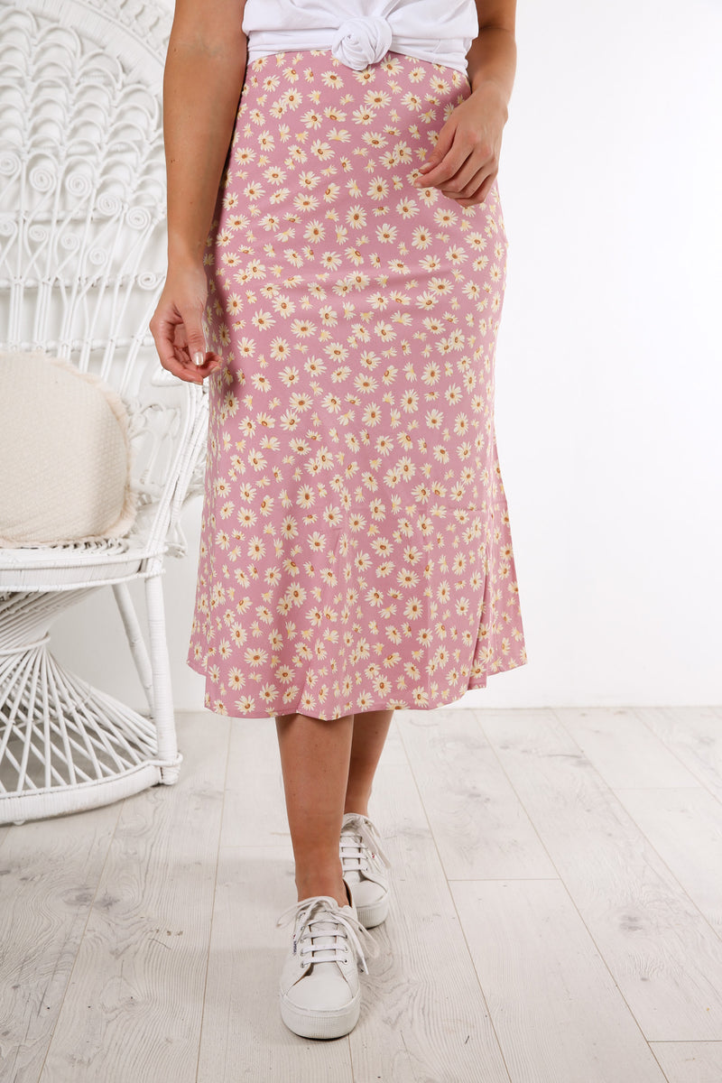Daisy Print Midi Skirt Purple