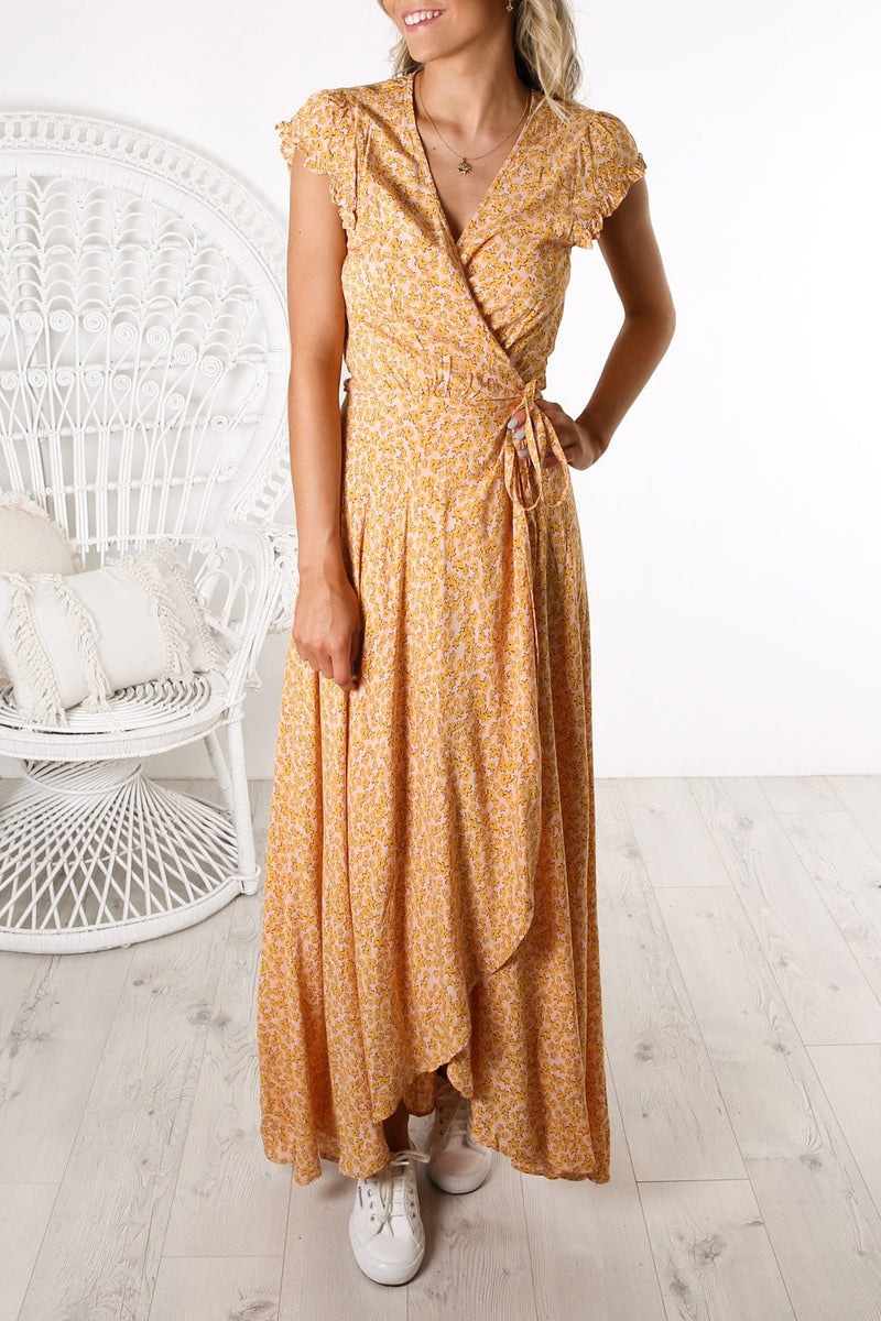 Dean Sierra Wrap Maxi Dress Yellow