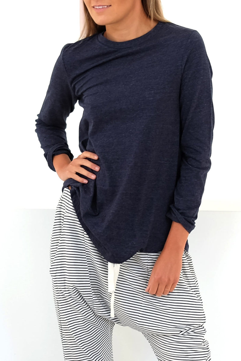 Decibel Long Sleeve Top Navy Marle