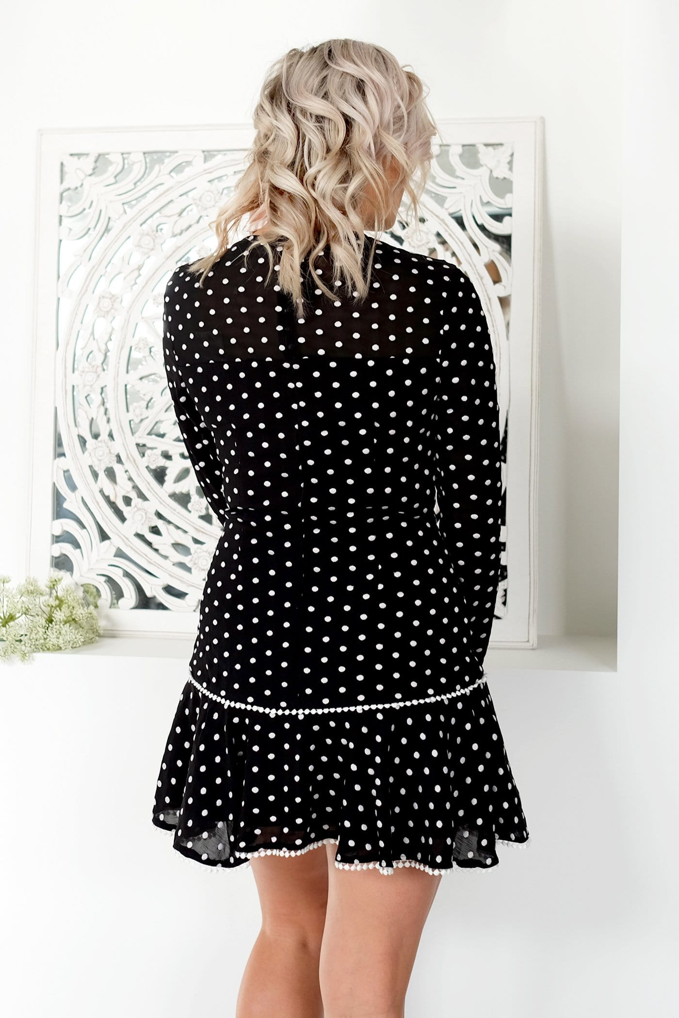 Deep Love Mini Dress Black Ivory Spot