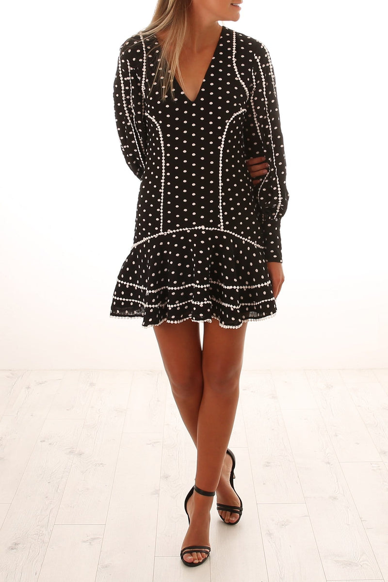 Deep Love Long Sleeve Mini Dress Black Ivory Spot
