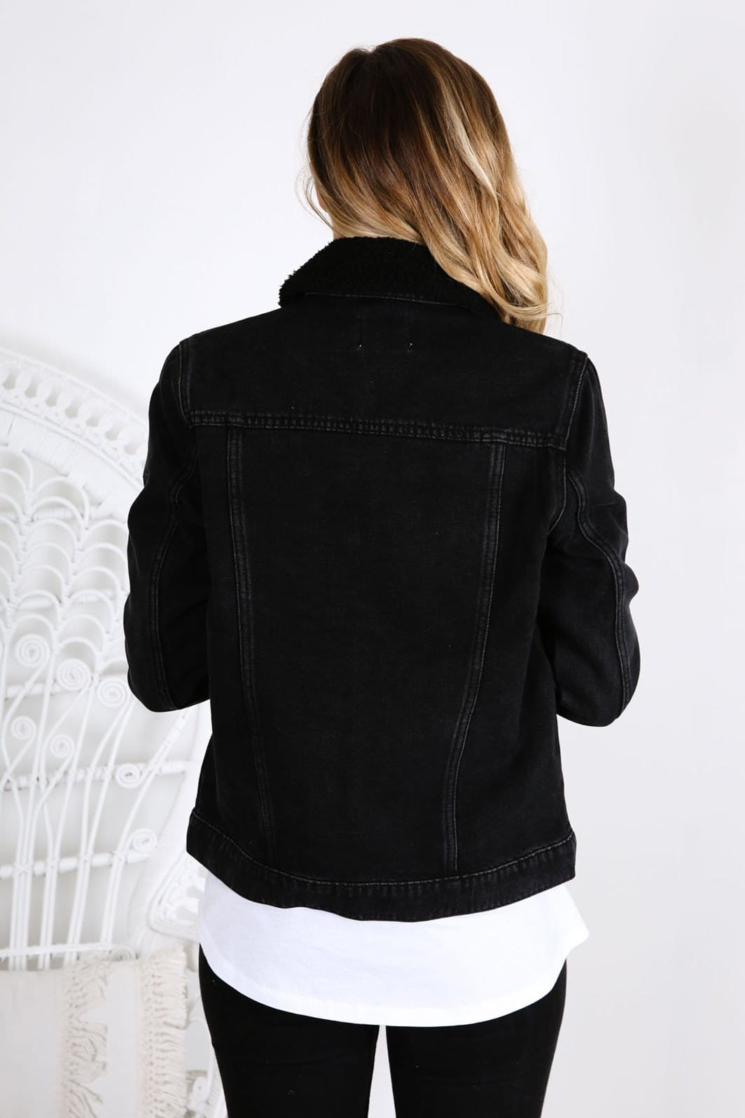 Denim Sherpa Jacket Beat Black