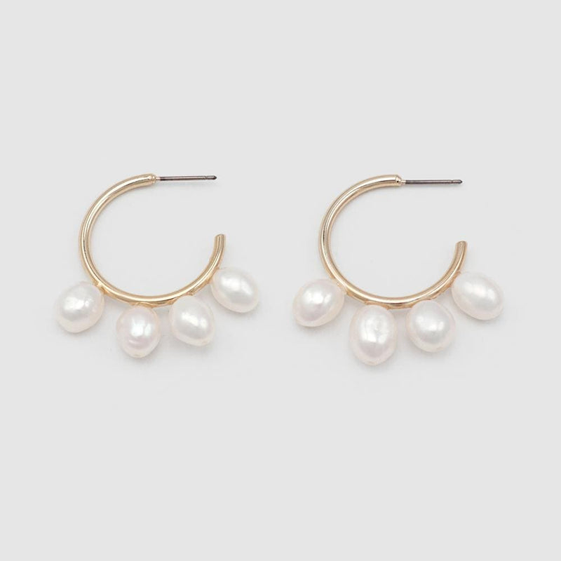 Dolly Pearl Hoops Gold Jolie & Deen - Jean Jail
