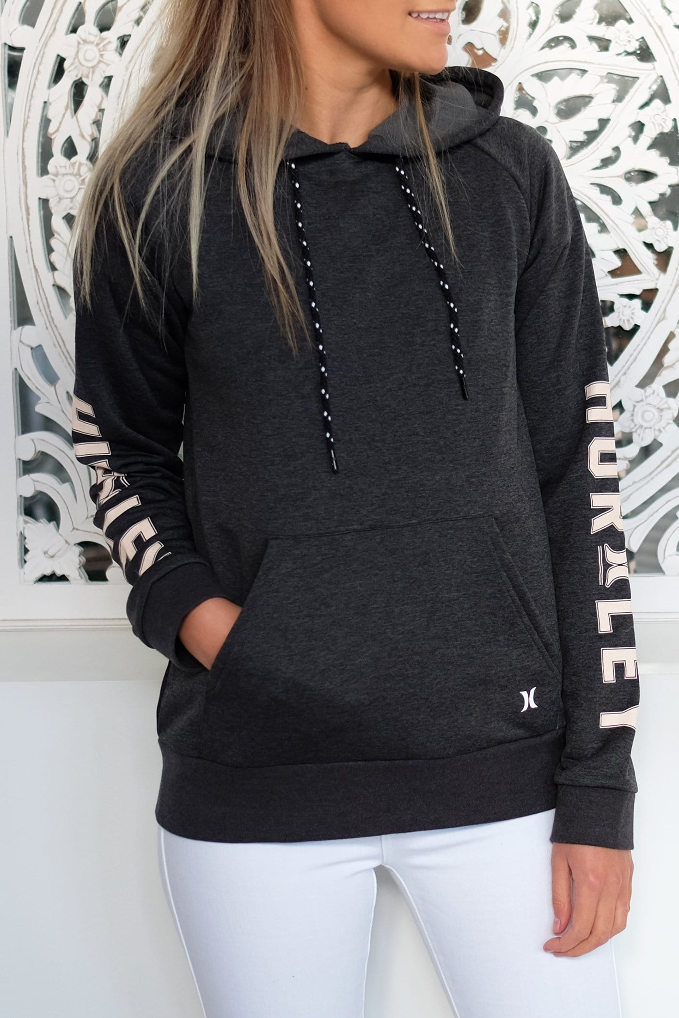 Dri-Fit Ivy Pop Hood Fleece Black Heather