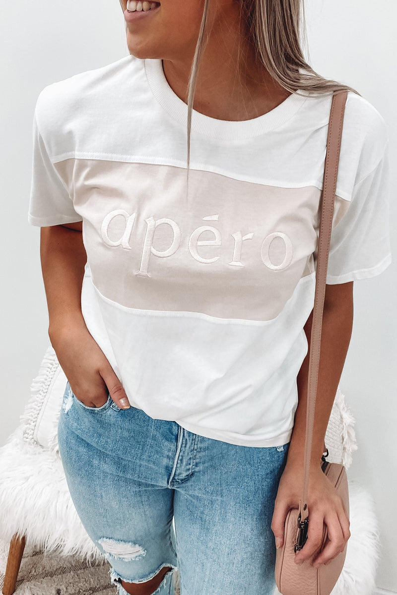 Dual Embroidered Tee White Beige