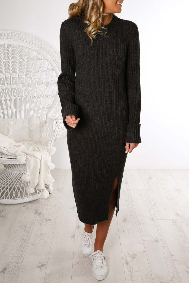 Dylan Knit Dress Charcoal Nude Lucy - Jean Jail