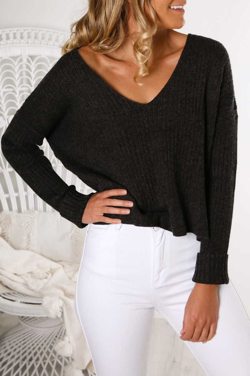 Dylan Knit Top Charcoal Nude Lucy - Jean Jail