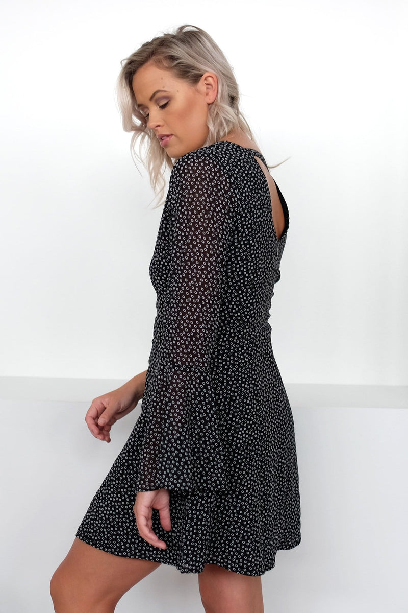 Ella Flare Sleeve Dress Spot Print