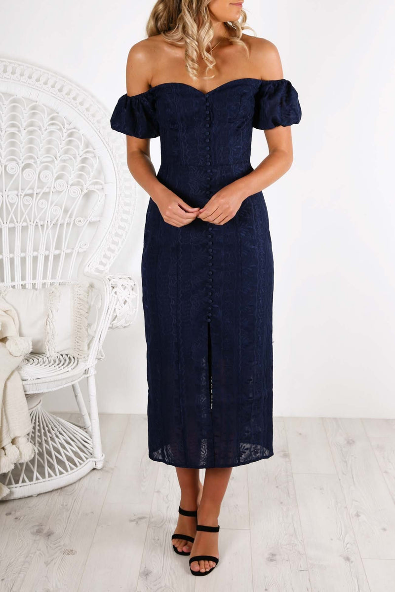 Elle Dress Navy Finders Keepers - Jean Jail