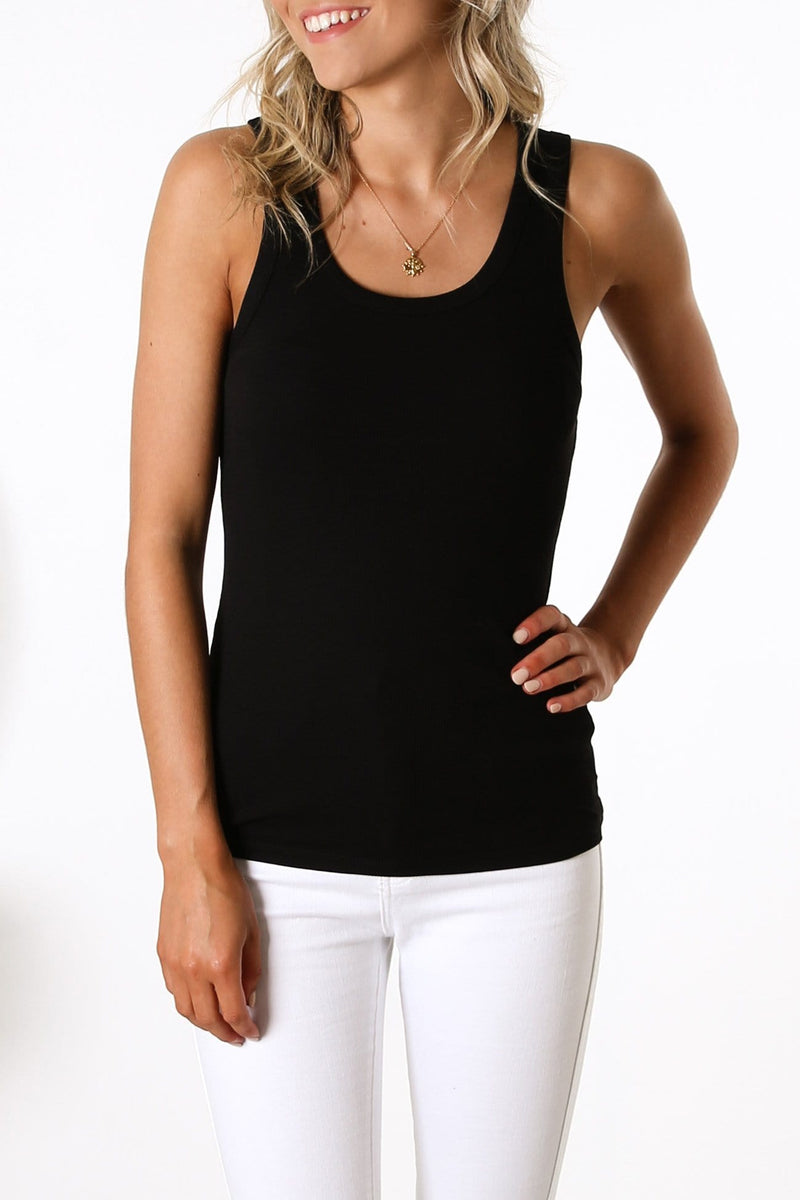 Ellie Rib Tank Black