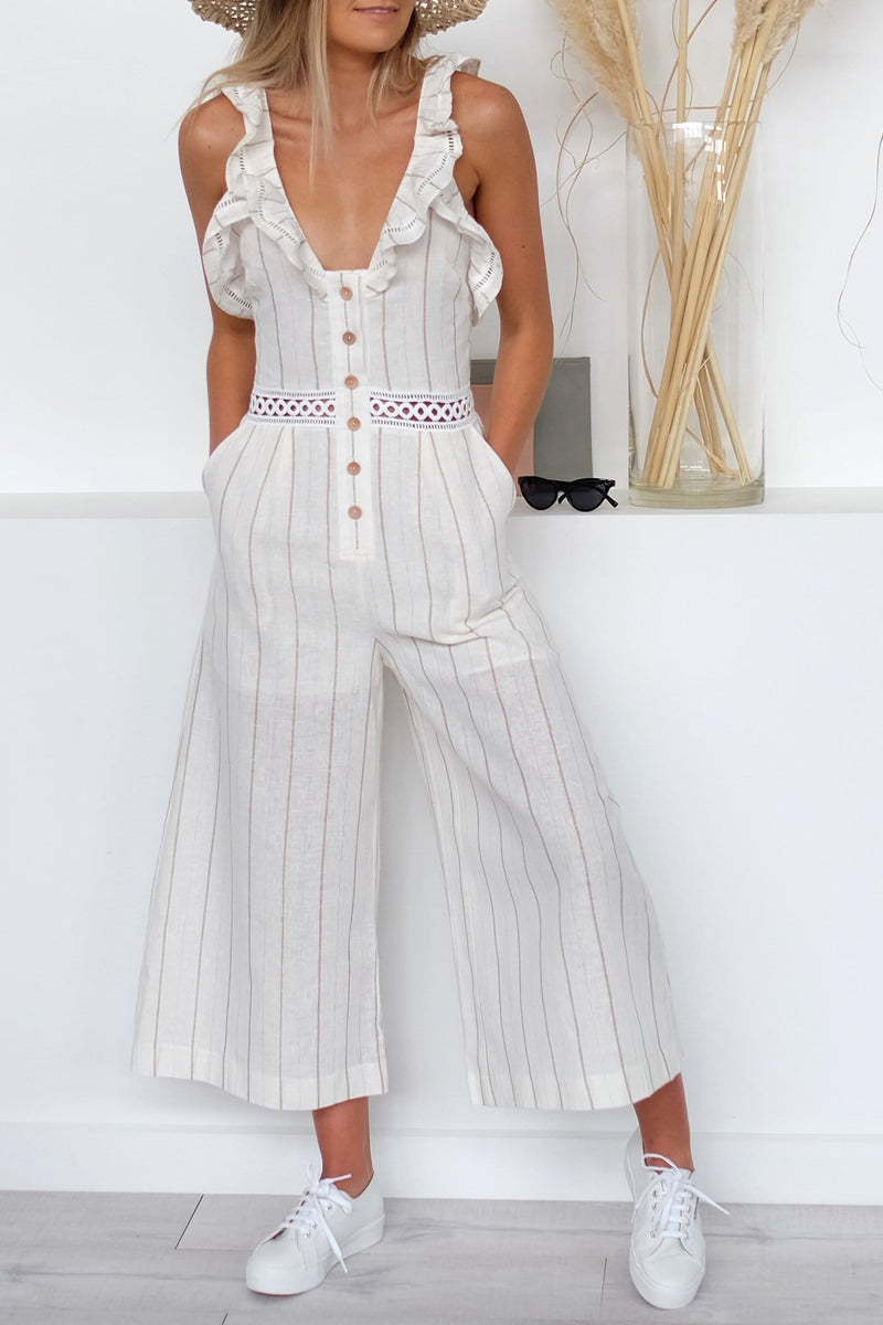 Elm Jumpsuit White Gold Lurex Stripe Stevie May - Jean Jail