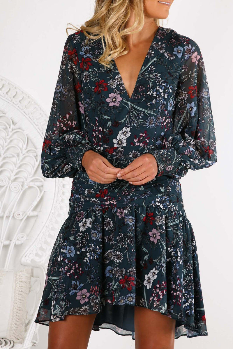 Enchanted Long Sleeve Dress Forest Green Floral Keepsake - Jean Jail