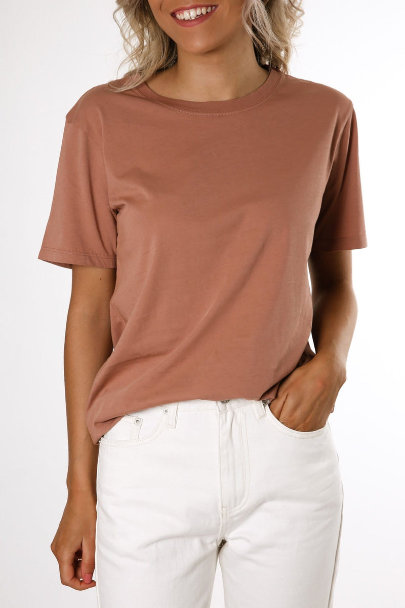 Essential Cotton Crew Tee Cameo Pink