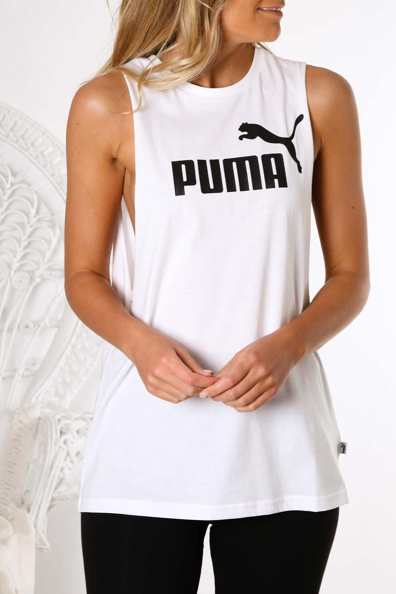Essentials Cut Off Tank Puma White Puma - Jean Jail
