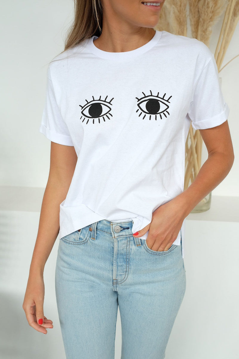 Evil Eyes Tee White All About Eve - Jean Jail