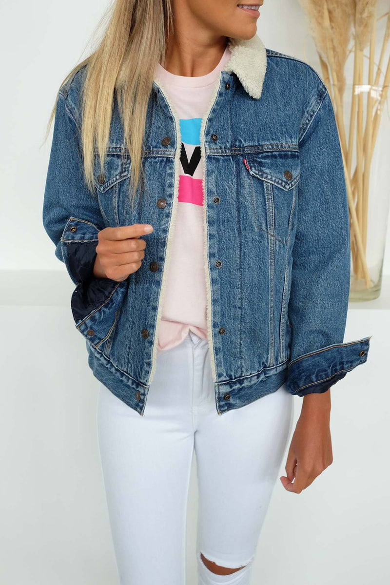 Ex-Boyfriend Sherpa Trucker Jacket Addicted To Love Levis - Jean Jail
