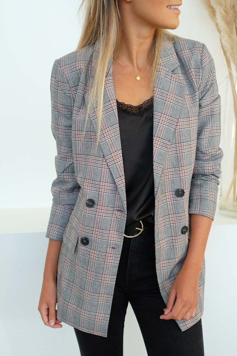 Exploration Check Blazer Amber Check Sass - Jean Jail