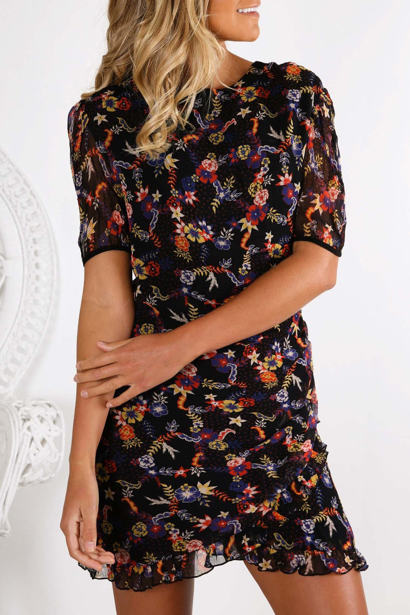 Eze Mini Dress Holiday Floral Print Stevie May - Jean Jail