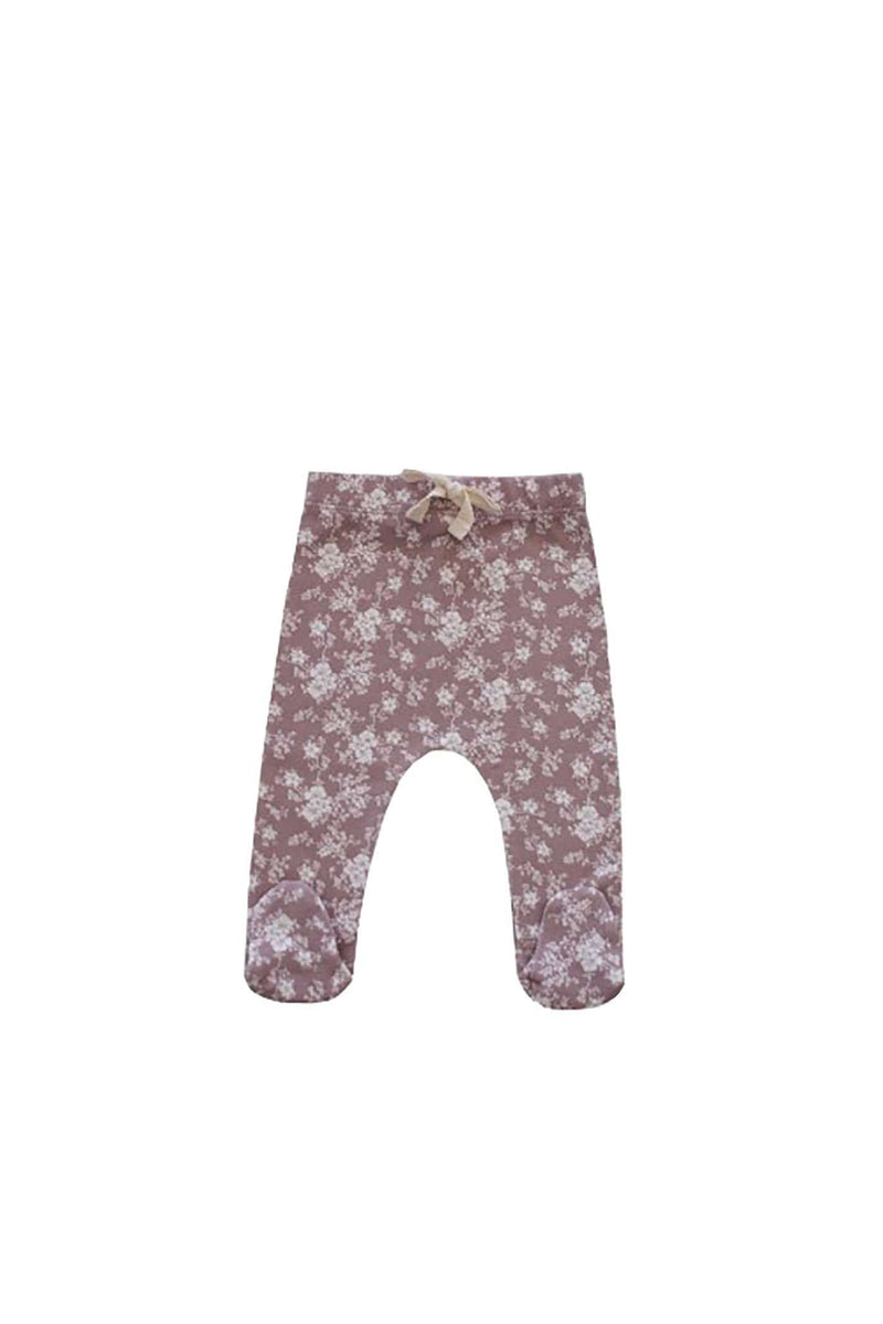 Organic Cotton Footed Pant Fawn Floral