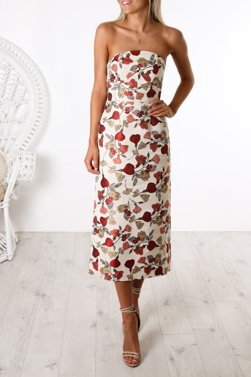 Feel Good Midi Dress Natural Vine Jacquard