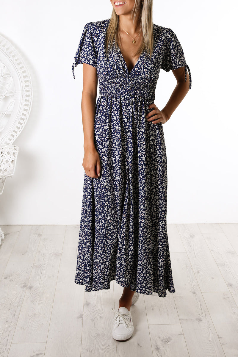 Fenwick Dress Navy Floral Print