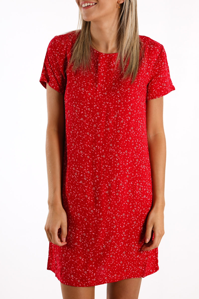 Flourishing Shift Dress Red Ditsy Floral