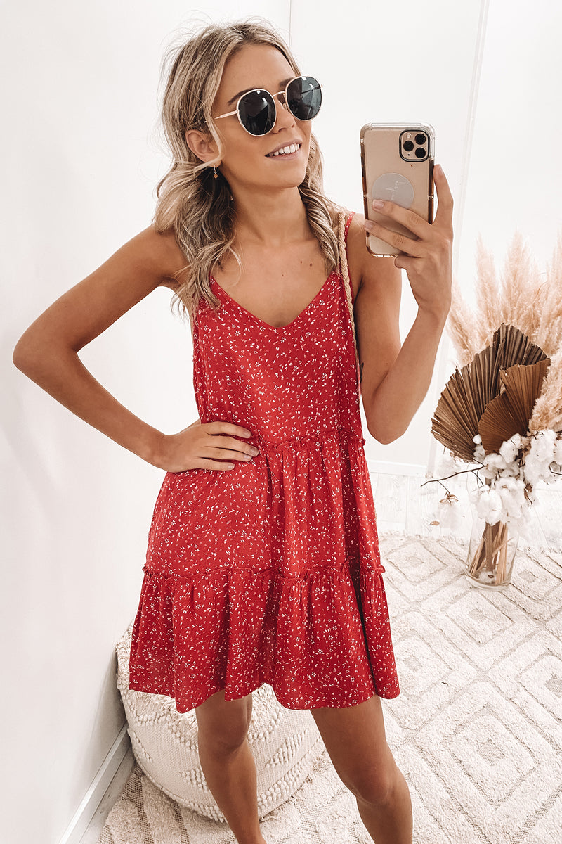 Flourishing Mini Dress Red Ditsy Floral