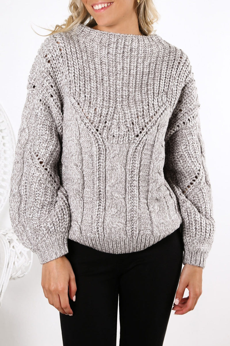 Folktale Chunky Knit Light Grey Marle