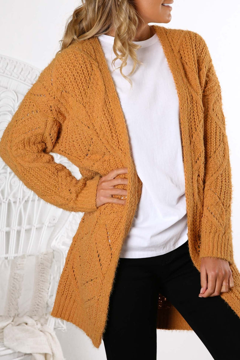 Friend To Lend Knit Cardigan Orange Jean Jail - Jean Jail