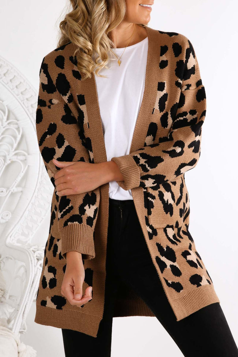 Get Over Him Cardigan Tan Leopard Jean Jail - Jean Jail